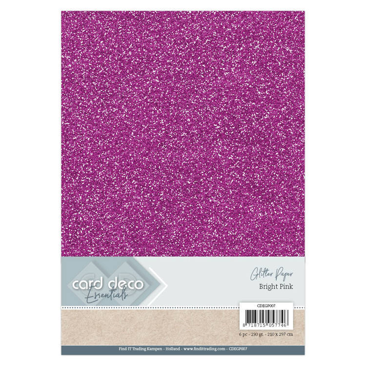 CDEGP007 Card Deco Essentials Glitter Paper Bright Pink