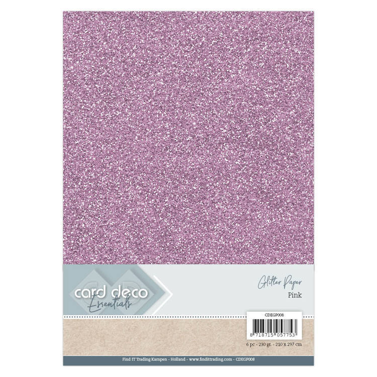 CDEGP008 Card Deco Essentials Glitter Paper Pink