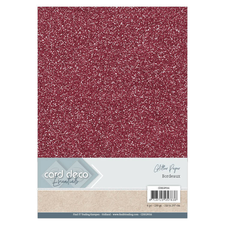 CDEGP016 Card Deco Essentials Glitter Paper Bordeaux