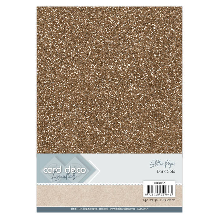 CDEGP017 Card Deco Essentials Glitter Paper Dark Gold