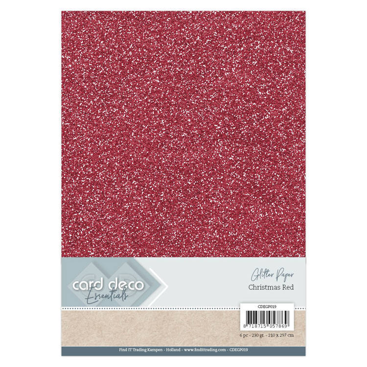 CDEGP019 Card Deco Essentials Glitter Paper Christmas Red