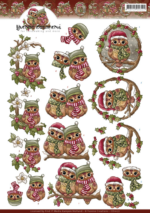 CD11177 3D Knipvel - Yvonne Creations - Christmas Owls