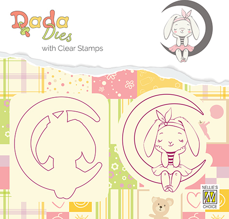 DDCS001 DADA Die with clear stamp bunny on moon
