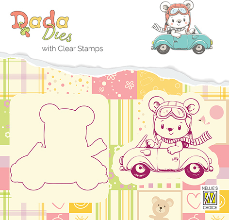 DDCS002 DADA Die with clear stamp bear with car