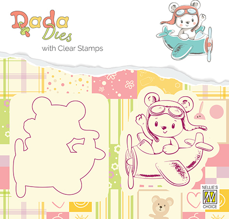 DDCS003 DADA Die with clear stamp bear in airoplane
