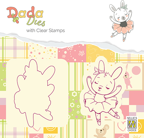 DDCS004 DADA Die with clear stamp bunny ballerina