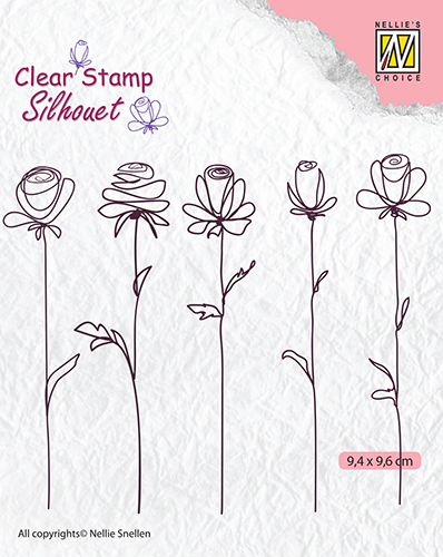 SIL042 Clear stamps silhouette 5-flowers