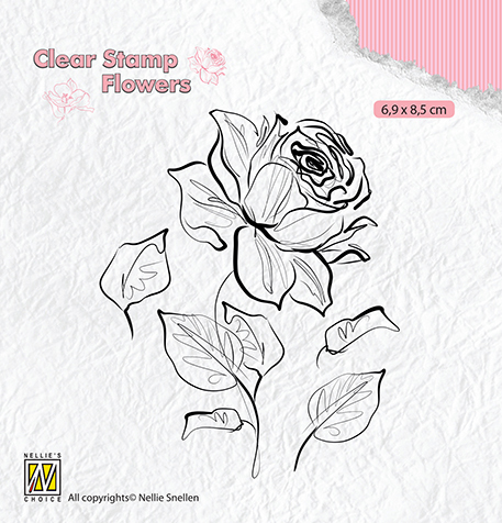 FLO017 Clear stamps flowers rose