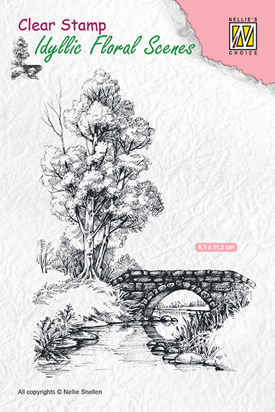 IFS011 Clear stamps Scene with stream and bridge