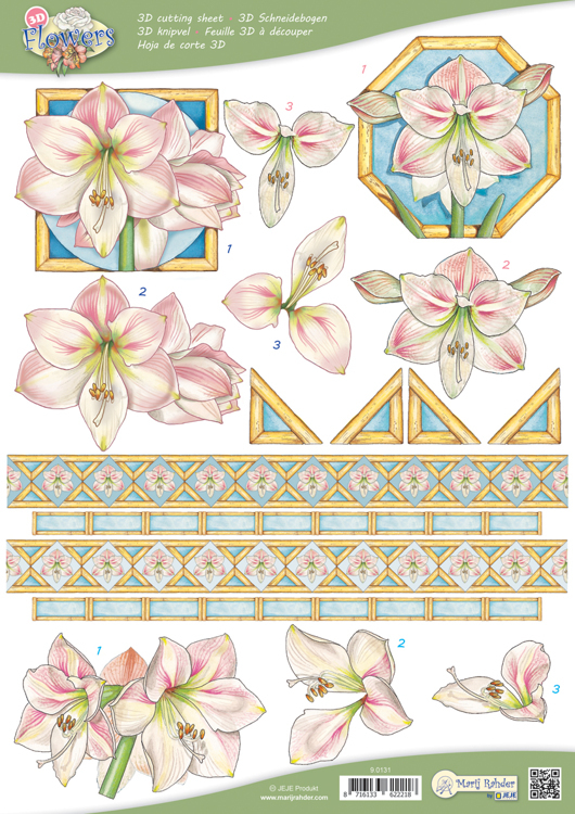9.0131 10 A4 3D Flowers Cutting sheets