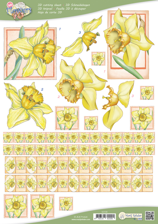 9.0130 10 A4 3D Flowers Cutting sheets