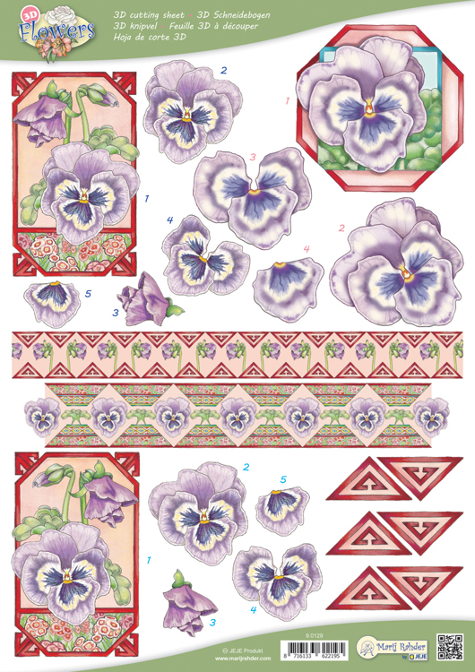 9.0129 10 A4 3D Flowers Cutting sheets