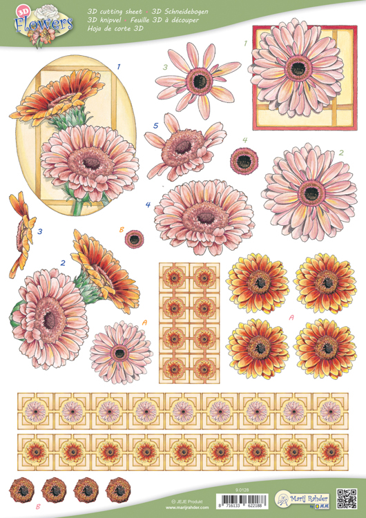 9.0128 10 A4 3D Flowers Cutting sheets