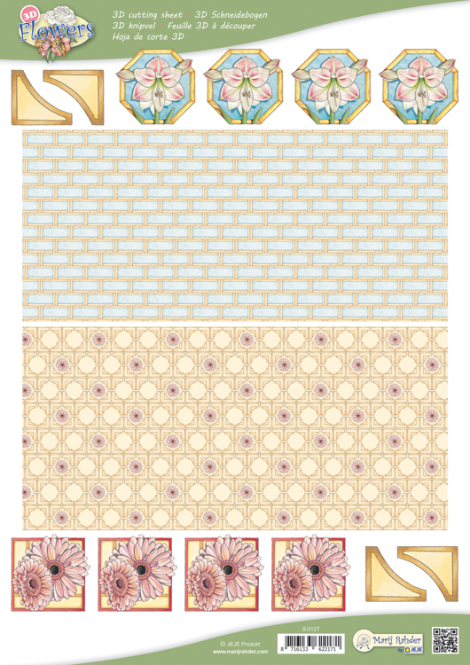 9.0127 10 A4 3D Flowers Cutting sheets