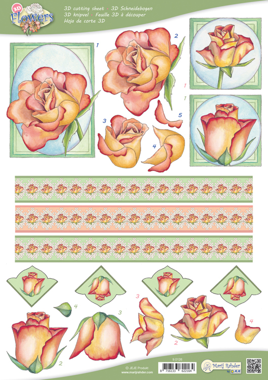 9.0126 10 A4 3D Flowers Cutting sheets