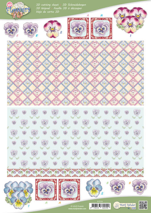 9.0124 10 A4 3D Flowers Cutting sheets