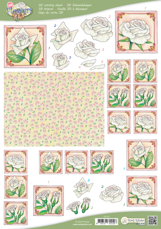 9.0122 10 A4 3D Flowers Cutting sheets