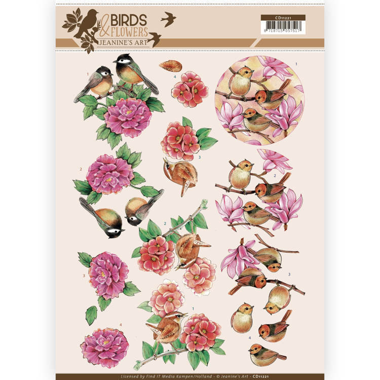 CD11221 3D Knipvel - Jeanine's Art - Birds and Flowers - Pink birds