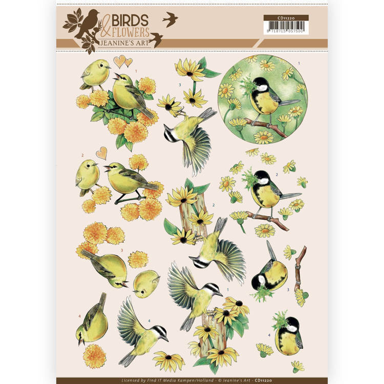 CD11220 3D Knipvel - Jeanine's Art - Birds and Flowers - Yellow birds