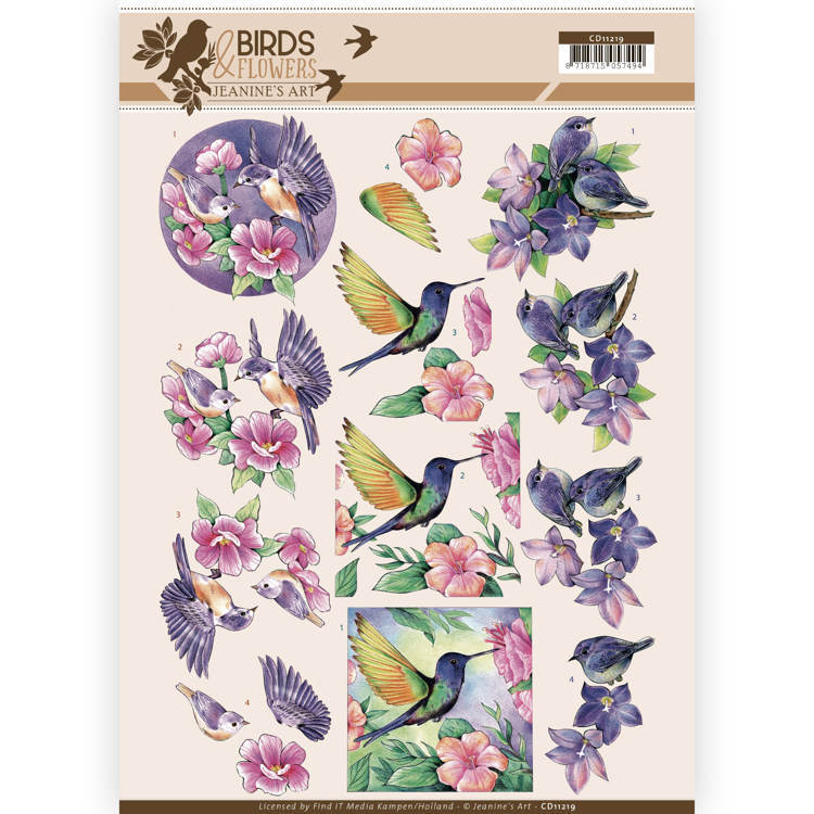 CD11219 3D Knipvel - Jeanine's Art - Birds and Flowers - Tropical birds