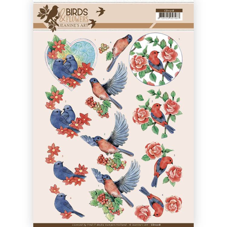 CD11218 3D Knipvel - Jeanine's Art - Birds and Flowers - Blue Birds