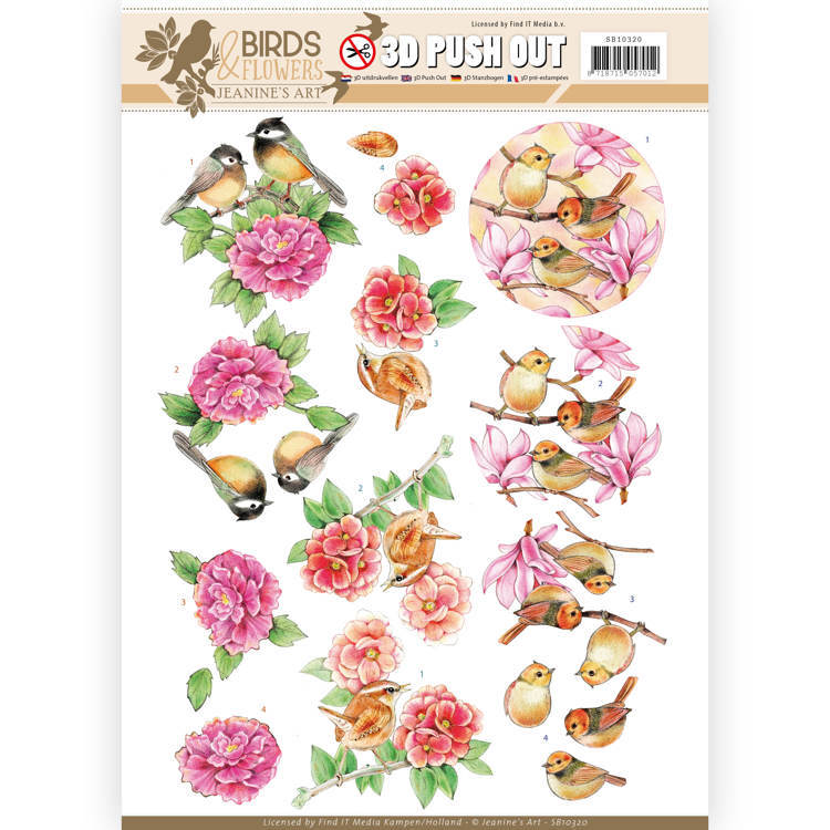 SB10320 3D Pushout - Jeanine's Art - Birds and Flowers - Pink birds