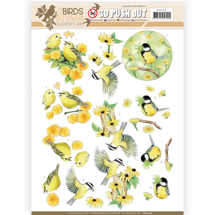 SB10319 3D Pushout - Jeanine's Art - Birds and Flowers - Yellow birds