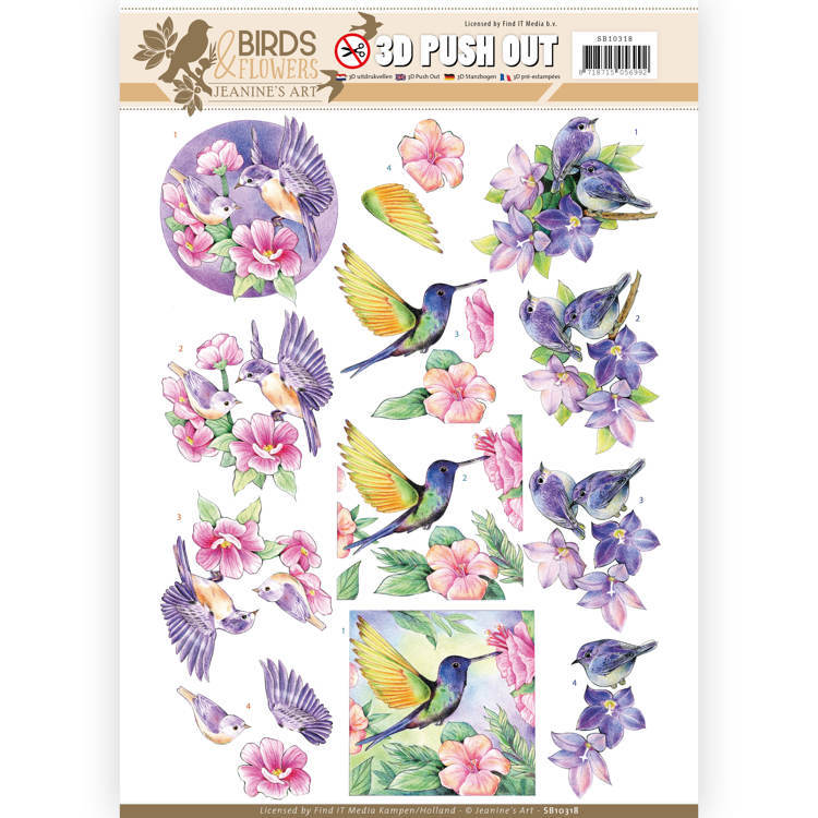 SB10318 3D Pushout - Jeanine's Art - Birds and Flowers - Tropical birds
