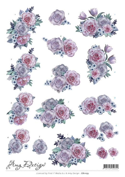 CD11153 3D Knipvel - Precious Marieke - Purple Flowers