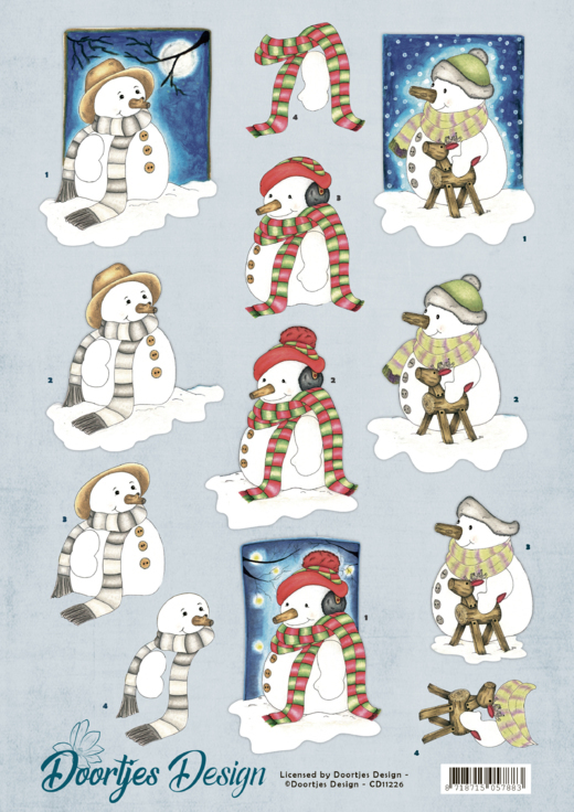 CD11226 3D Knipvel - Doortjes Design - Snowmen