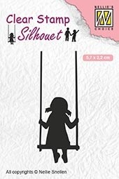 SIL045 Clear stamps silhouette Childrs play swinging