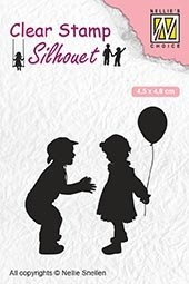 SIL046 Clear stamps silhouette Childrs play children with balloon