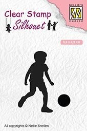 SIL049 Clear stamps silhouette Childrs play football player