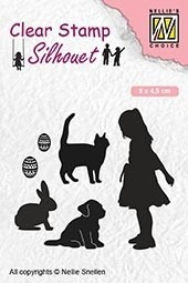 SIL050 Clear stamps silhouette Childrs play animal lover