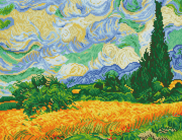 DD9.024 DIAMOND DOTZ® - 51x39cm - Wheat Fields (Van Gogh)