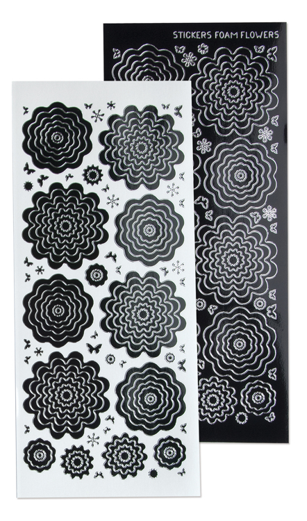 61.5831 10 Nested Flowers stickers 4. black silver