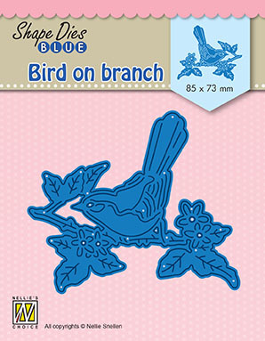 "SDB073 Shape Dies Blue ""bird on branch"""