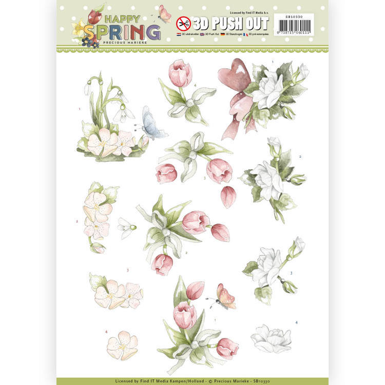 SB10330 3D Pushout - Precious Marieke - Happy Spring - Happy Spring Flowers  (#HJ167)
