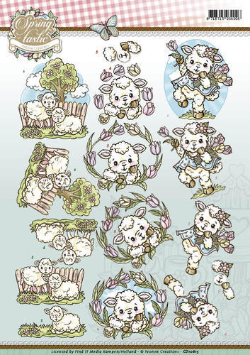 CD10815 3D Knipvel - Yvonne Creations - Spring-tastic - Sheep