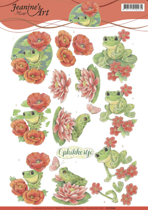 CD11086 3D Knipvel - Jeanine's Art - Frogs