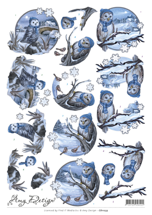 CD11233 3D Knipvel - Amy Design - Winter Owls