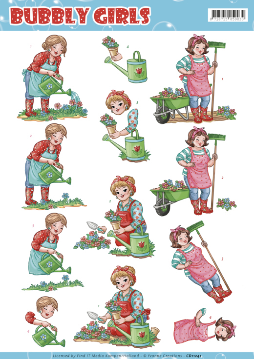 CD11241 3D Knipvel - Yvonne Creations - Bubly Girls Gardening (#HJ167)