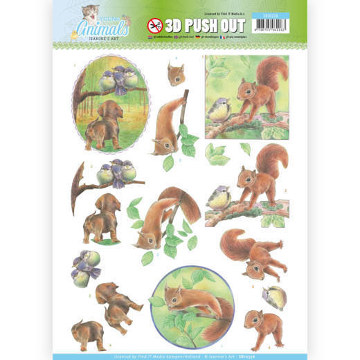 SB10336 3D Pushout - Jeanine's Art - Young Animals - In the Forest