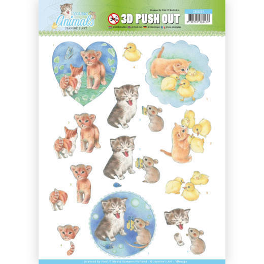 SB10337 3D Pushout - Jeanine's Art - Young Animals - Kittens