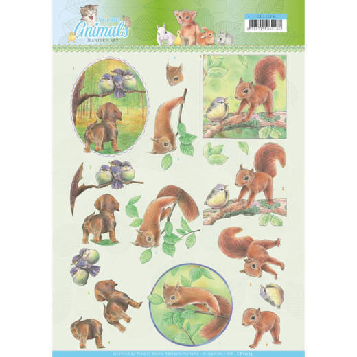 CD11273 3D knipvel - Jeanine's Art - Young Animals - In the Forest