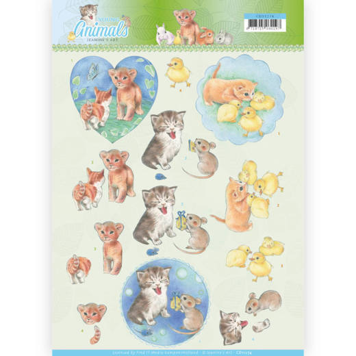 CD11274 3D knipvel - Jeanine's Art - Young Animals - Kittens