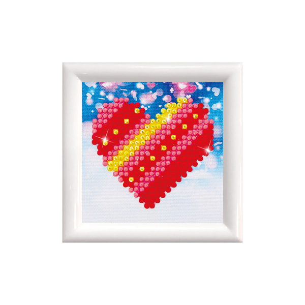 DDS.007F DIAMOND DOTZ® - Kit with Frame White - Patchwork Heart