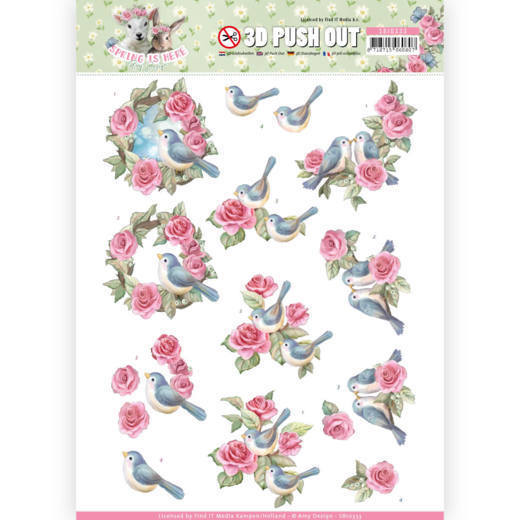 SB10333 3D Pushout - Amy Design - Spring is Here - Birds and Roses(#HJ168)