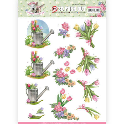 SB10332 3D Pushout - Amy Design - Spring is Here - Tulips(#HJ168)