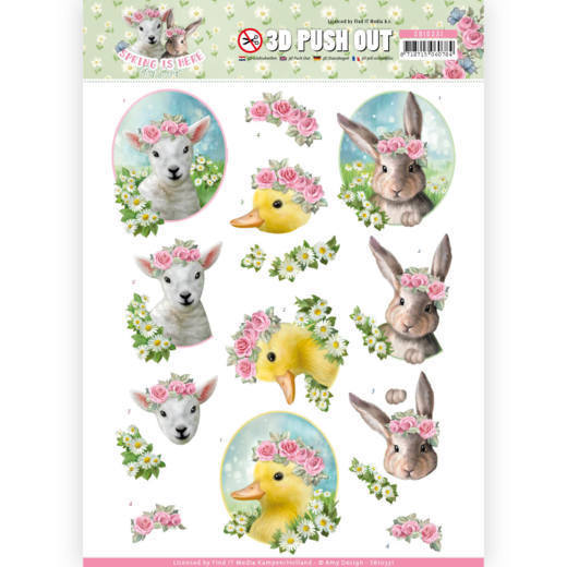 SB10331 3D Pushout - Amy Design - Spring is Here - Baby Animals(#HJ168)